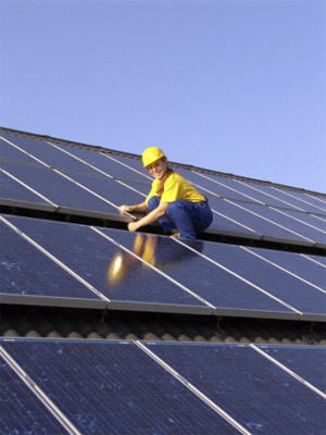 Solar panels and engineer